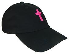 Christian Cross Black Hot Pink Vintage Polo Baseball Cap Caps Dad Hat God Jesus