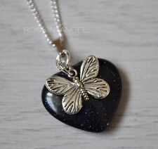 925 Silver Necklace Blue Goldstone Heart & Butterfly Pendant, Reiki Ladies Gift