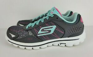 Skechers Womens Size 6.5 Grey Pink Go Walk Flash Goga Mat Walking Shoes Sneakers