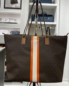 Michael Kors Travel MK Black Brown Large Center Stripe Top Zip Carryall Tote Bag