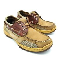 St Johns Bay Mens Boat Shoes Khaki Brown Lace Up Moc Toe Low Top Leather 9.5 M