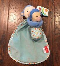 Nwt Fisher Price Blue Monkey Security Blanket & Rattle Velour Polka Dot Lovey
