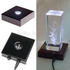 5 LED Brilliant White Lights Stand Wooden Base USB Crystal Display Trophy Laser