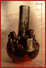 Japon XIXe Vase Japonais Céramiques Sumida Gawa Grès Polychrome Japon Ancien.