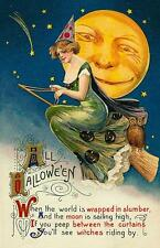 HALLOWEEN, WOMAN WOMAN RIDING ON A BROOM, WITH OWL, FRIDGE MAGNET