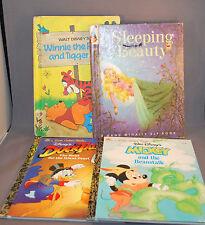 Set of 4 Disney Little Golden Books Mickey Ducktales Sleeping Beeauty Winnie Poo
