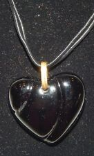 Authentic Baccarat Black Heart Coeur Crystal Pendant with Black Cord