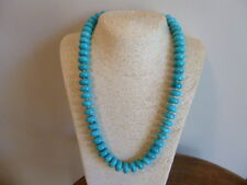 Turquoise Heishi Bead And Sterling Silver Native American Navajo Necklace