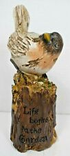 "TII Collections - ""Life Begins in the Garden"" Resin bird on Log Figurine"
