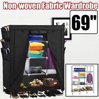 "69"" Non-woven Fabric Closet Storage Organizer Wardrobe Clothes Shoe Shelf Rack"