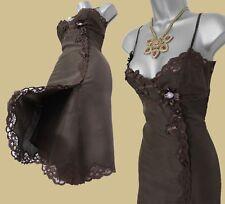KAREN MILLEN Brown Silk Embellished Lace Slip Party Cocktail Prom Dress UK 10 38