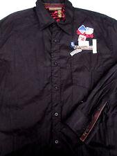 Rocawear Mens Button Front Long Sleeve Black Logo Shirt X Large XL