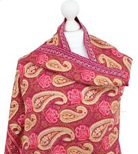 Ladies Pink Paisley Embroidered Indian Shawl Stole 100% Pashmina Wool Handmade
