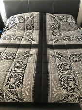 VERSACE King Size Black And Silver Baroque Comforter Silk and Velvet