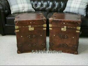 Pair Of Finest English Leather Antique Inspired Side Table Trunks Amazing item