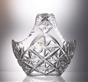 Unsigned Heavy Lead Crystal Cut Glass Flower Basket  Table Centrepiece - 15 cm