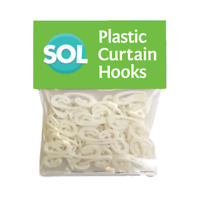 100 x Curtain Hooks for Curtains White Plastic Nylon Curtain Rings Header