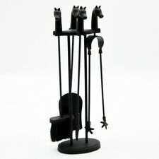 Black Companion Set Fireside Set Wrought Iron Horse Head Tools Poker Brush 24""