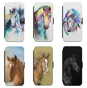 Colourful Painting Horse Animal WALLET FLIP PHONE CASE COVER FOR IPHONE MODELS