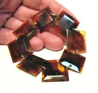 ANTIQUE GOLD FILLED FAUX TORTOISE SHELL BRACELET 7 INCHES 8.8 GRAMS