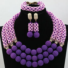 Pink and Purple Mixed design African Costume Necklace Earring Jewelry Set