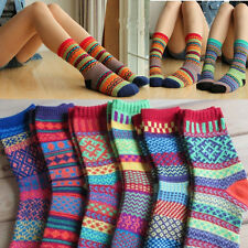 Mode Damen Herren Vintage Baumwolle Socken Design Winter Warm Weich Bunt Neu