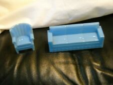 Vintage Marx Dollhouse Furniture Blue Couch And Matching Wing Back Chair