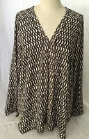 Pleione Anthropologie Women's Blouse Pullover Long Sleeve Tunic Top Shirt Size M