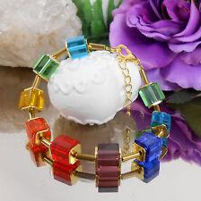 Design Armband 10 mm Glas Würfel Bunt mit Hämatit Röhrchen in gold