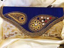 Blue Cream Gold Handbag Clutch Wallet Bollywood Indian Sari Dress Purse Art Silk