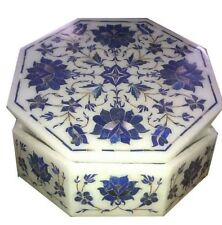 "6"" white Marble Box handmade semi precious stones floral inlay decor gifts"