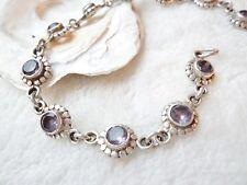 Silber Armband Amethyst Facettiert Natürlich 20,5 cm Lila Kette Handarbeit