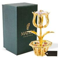 New Matashi 24k Gold Plated Tulip Flower w/ Pink Crystals Gift for Mother's Day