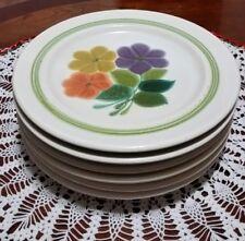 Franciscan Floral Salad Dessert Plates Green Stripes Set of 6
