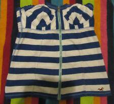 Hollister Tube Top Zipper Stripe Blue White Summer Spring Beach Juniors Women