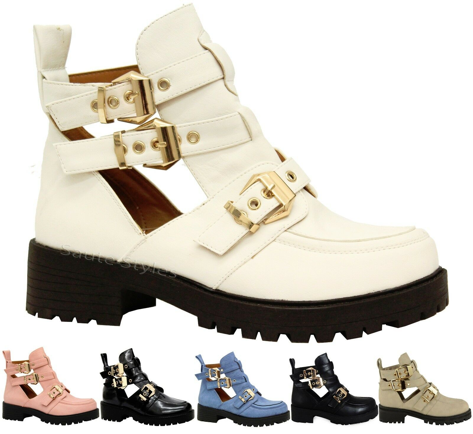Ladies Mujer Buckles Chunky Cutout Chelsea botas Ankle School Office botas Chelsea Zapatos Talla 0541db