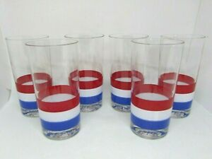 """Set 6 GEORGES BRIARD Red White & Blue Highball Cocktail Glasses 5.5"""""""
