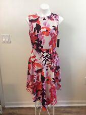 Donna Morgan Sleeveless Asymmetrical Hem Pink Orange Floral Print Dress Size 10