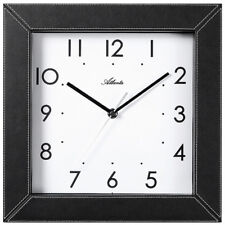 NEU Atlanta Wanduhr analog schwarz/weiß eckig Kunstleder 30x30 cm geräuscharm