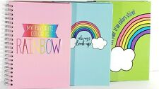 Lot Of 3 New Rainbow Colors Encouraging Fun Lined Spiral Notebook Journals