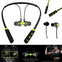 Wireless Bluetooth Magnetic Headset Earphones Mic Sports Gym For Apple Phones