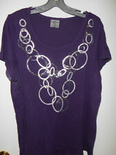 PLUM/Dark Purple with Gray/Silver Sequin T-Shirt from Avenue - Size 14/16 - CUTE