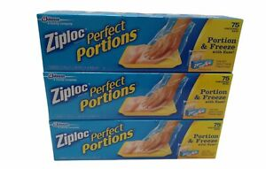 225 Ziploc Perfect Portions Freezer Bag Food Meat Storage, 3-75 Count Boxes