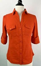 Anthropologie Fei Slub Side Panel Shirt Size 2 Orange Button-down 3/4 Sleeves