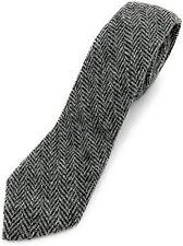 Men's Harris Tweed Tie Grey Herringbone