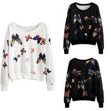 Women Butterfly Pattern Long Sleeve Hoodie Pullover Jumper Sweater Coat Tops 3Q