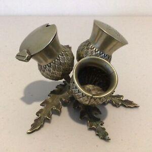 Vintage Metal Thistle Condiment Set Approx. 8 x 11.5 x 12.5 cm #593
