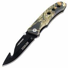 """7"""" Defender Xtreme Gut Hook Black Blade & Desert Sand Camo Handle Design Spring"""