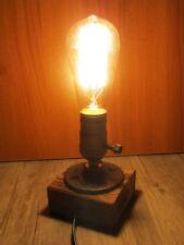 Vintage Wooden Base Industrial Retro Single Socket Table Bedside Desk Lamp