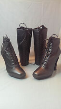 NIB PRADA NAPPA STRETCH GRAFITE LACE UP LEATHER BOOTS  9.5 US 39.5 EU